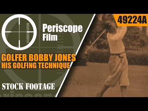 GOLFER BOBBY JONES DEMONSTRATES HIS GOLFING TECHNIQUE 49224a