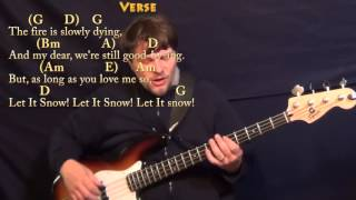 Let It Snow! (CHRISTMAS) Bass Guitar Cover Lesson in G with Chords/Lyrics