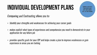 APA's Individual Development Plan  — Compare and Contrast