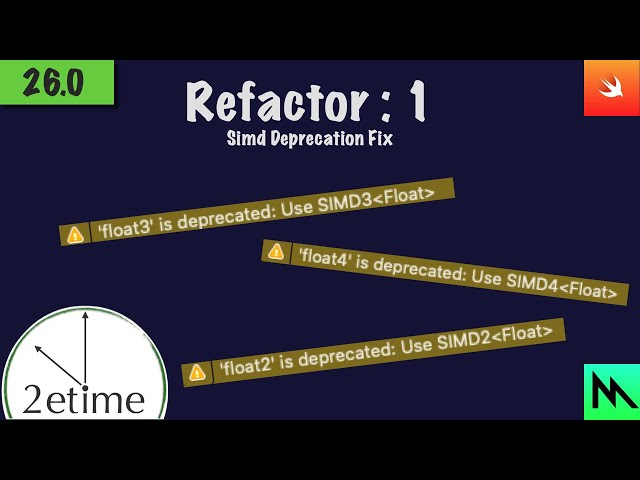 26.0: Refactor 1: - Fixing SIMD Deprecation Warnings | Swift Game Engine