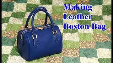 48 [Leather Craft] Making Leather Mini Boston Bag / [가죽공예] 미니 보스턴백 만들기 / Free Pattern