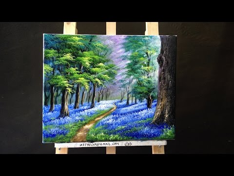 Bluebells in the New Forest - Acrylic lessons
