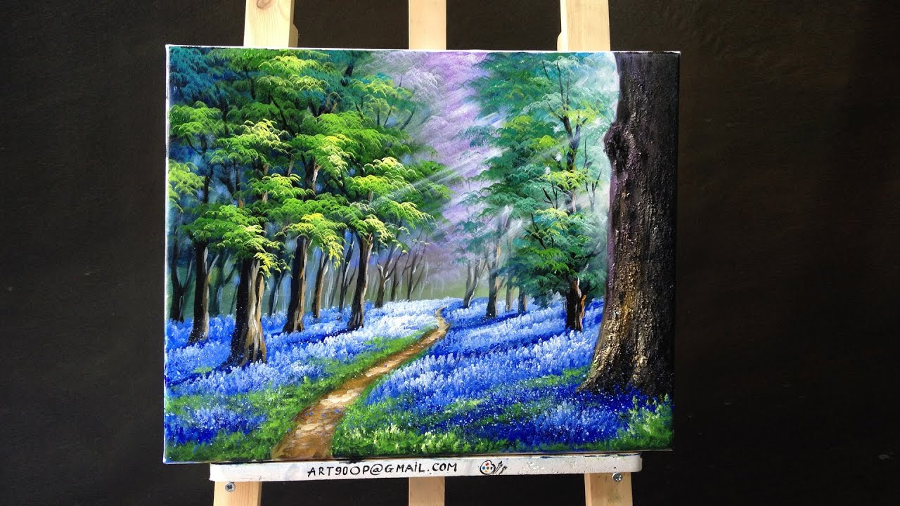 Bluebells In The New Forest Acrylic Lessons Youtube