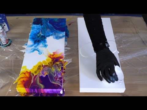 Acrylic pouring - Ocean & sunset Diptych - Fluid art paintings tutorial