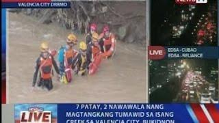 NTVL: 7 patay, 2 nawawala nang magtangkang tumawid sa isang creek sa Valencia City, Bukidnon