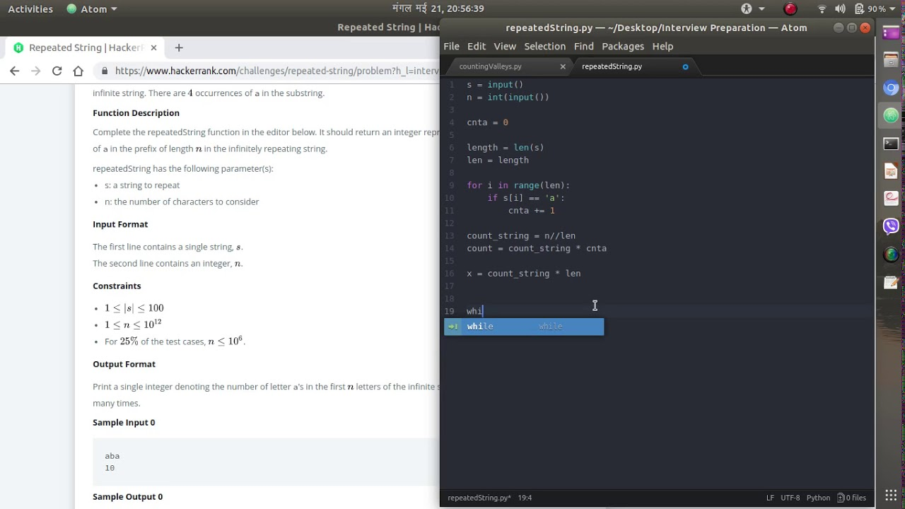 Repeated String    Hackerrank    Solving Coding Interview Questions    Warm  Up Challenges