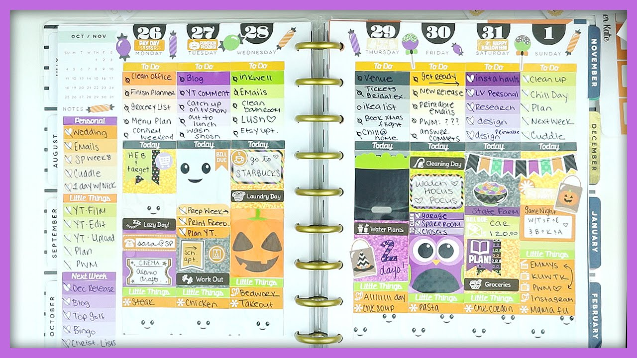 Plan With Me Halloween Mambi Happy Planner Youtube