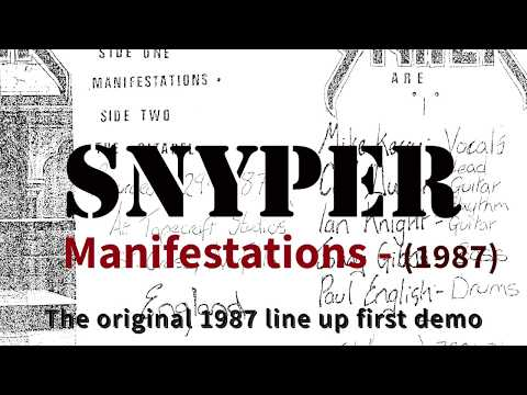 SNYPER  (UK Speed Thrash Metal) 'Manifestations' demo 1987 'Manifestations' Original line up