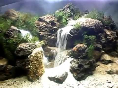 Aquascape waterfall pangkalan youtube for Aquarium waterfall decoration