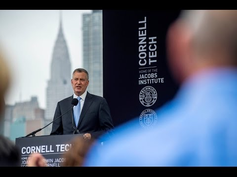 Mayor de Blasio Attends Groundbreaking Ceremony for Cornell Tech Campus