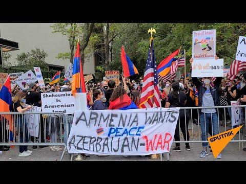 Акция протеста возле офиса ООН в Нью Йорке