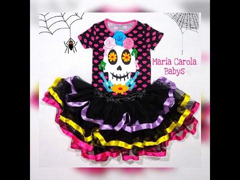 fantasia-de-menina-día-de-los-muertos/caveira-mexicana,-de-18-meses-a-16-anos/-modelagem-gratuita