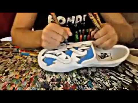 bb5ed57cc7caa6 Custom Painted Vans(Time-lapse) Cracked Shoes - YouTube