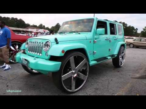 WhipAddict: Tiffany Blue Jeep Wrangler on DUB Baller 30s, Custom Interior