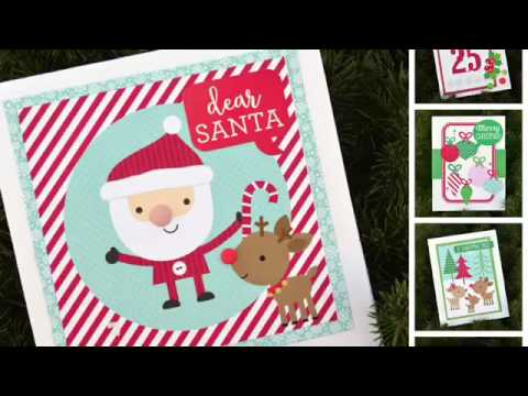 process video 16 10 quick christmas cards with here comes santa claus from doodlebug design - Santa Cards
