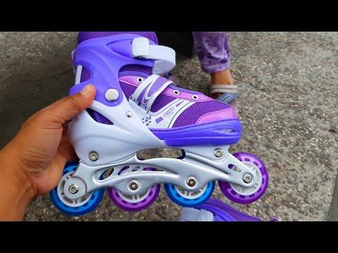 Nafis Unboxing Sepatu Roda Anak Baru Warna Ungu Mainan Anak
