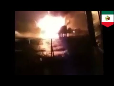 HUGE fire breaks out on Mexican oil platform, four dead as hundreds are evacuated