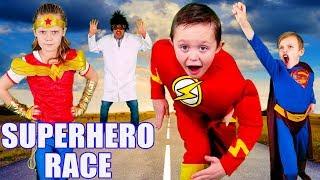 The Flash VS Wonder Woman VS Superman Race! Super Hero Team Up To Get Super Powers Back!