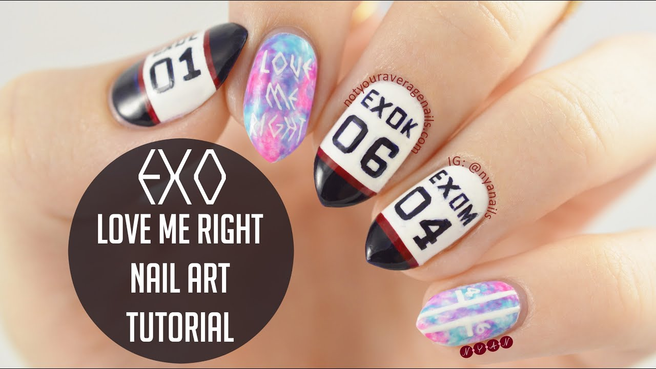 EXO Love Me Right Nail Art Tutorial - YouTube
