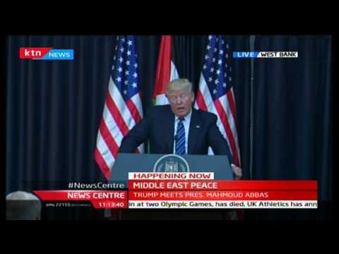 US president Donald Trump meets President Mahmoud Abbas