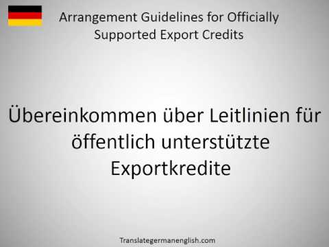 How to say Arrangement Guidelines for Officially Supported Export Credits in German?