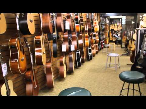 Sam Ash Music Store acoustic guitar section -New York