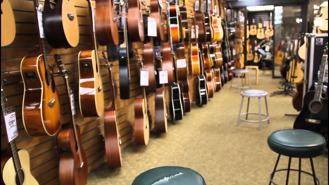 sam ash music store acoustic guitar section new york youtube. Black Bedroom Furniture Sets. Home Design Ideas