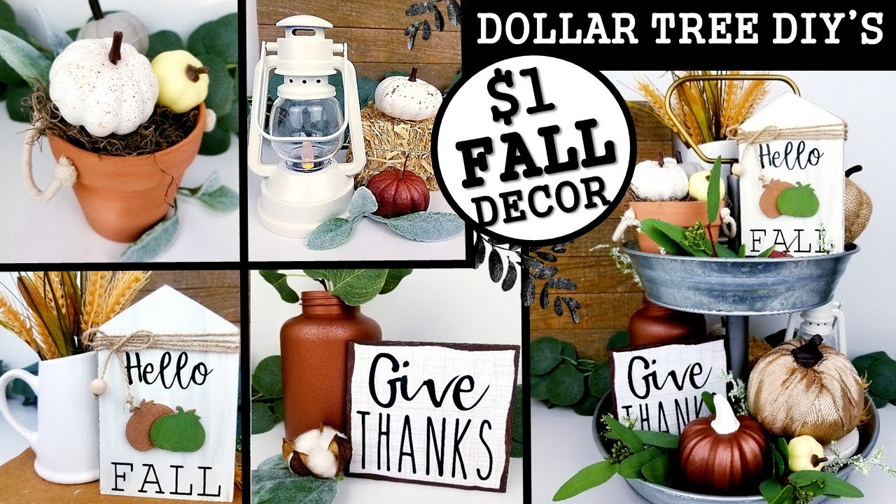 DOLLAR TREE FALL DIY'S | HOW TO DECORATE A TIER TRAY FOR AUNTUMN | FALL DECOR IDEAS