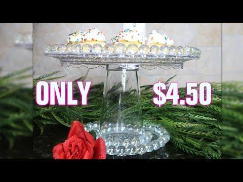 DIY Dollar Tree Glass Beaded Cake Stand | Copycat Series