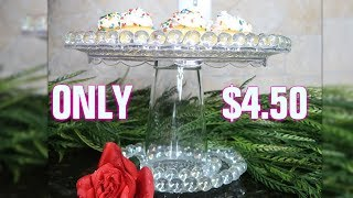 DIY Dollar Tree Glass Beaded Cake Stand | Copycat Series