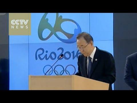 Ban Ki-moon and Bach welcome Olympic flame