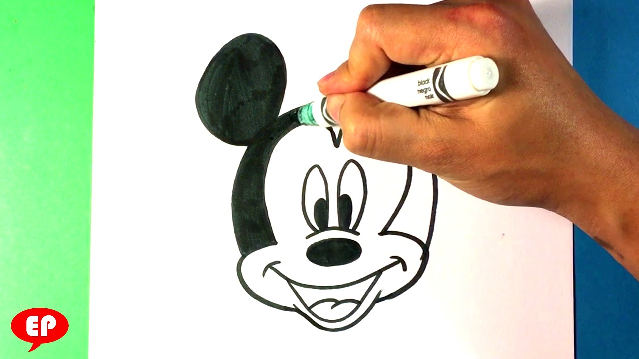 How To Draw Mickey Mouse Head Drawing Step By Step For Beginners Easy Pictures To Draw Simple Youtube
