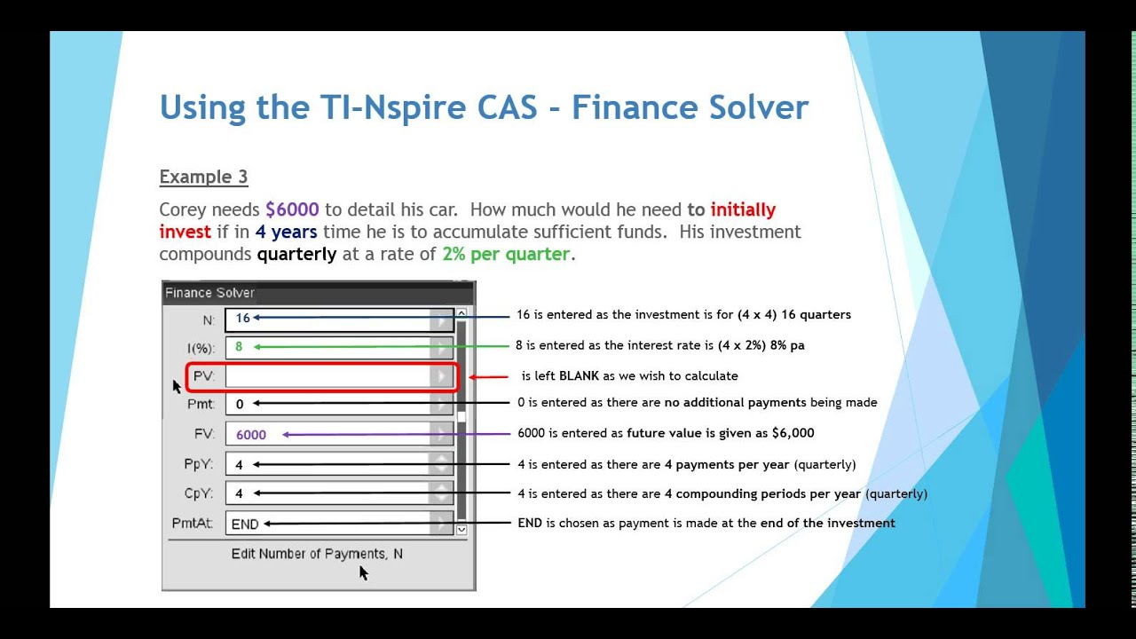 compound interest using the ti nspire finance solver youtube