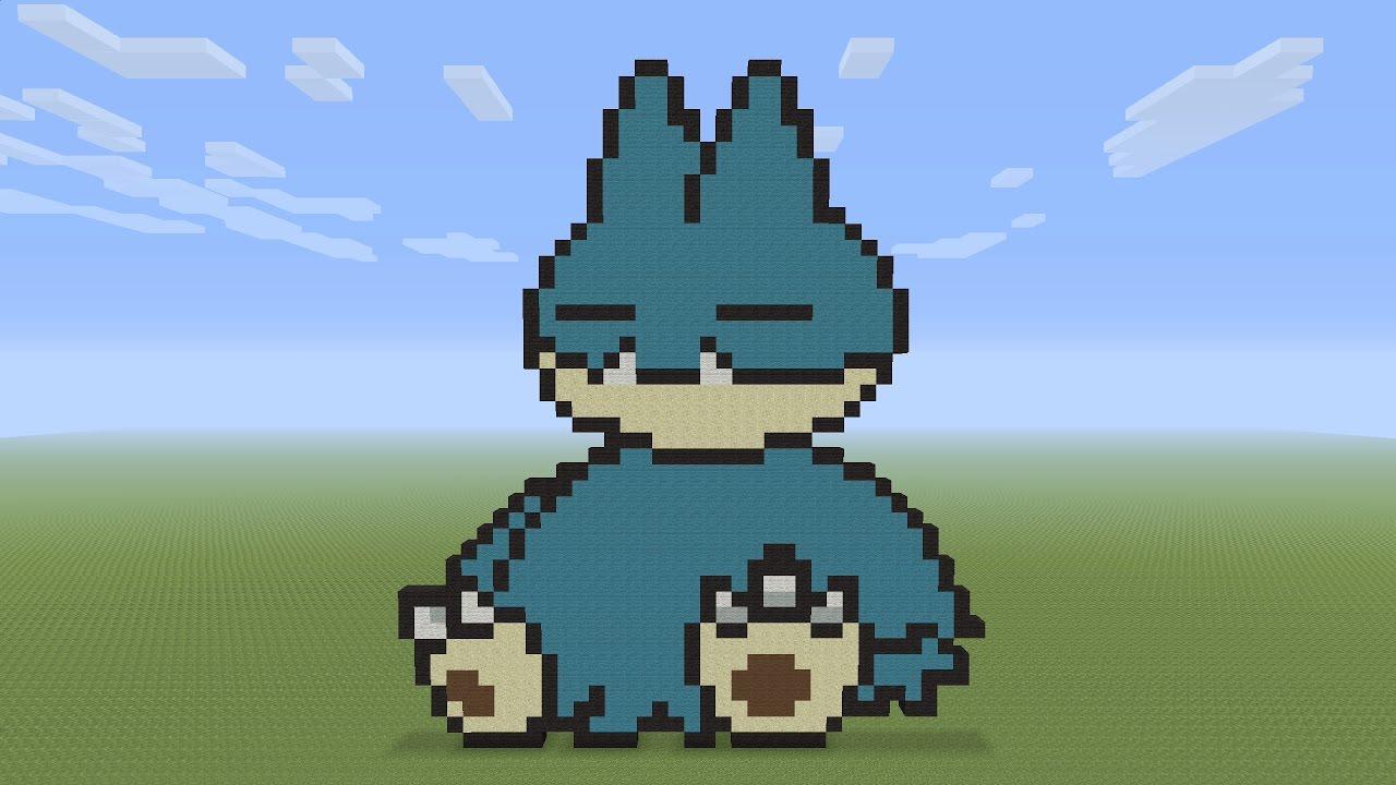 Minecraft Pixel Art Munchlax Pokemon 446 Youtube