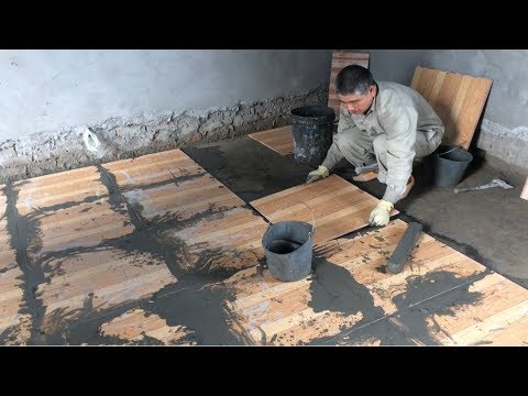 How To Build Bedroom With Fake Wood Ceramic Tiles - Build Accurate Tile Installation Process