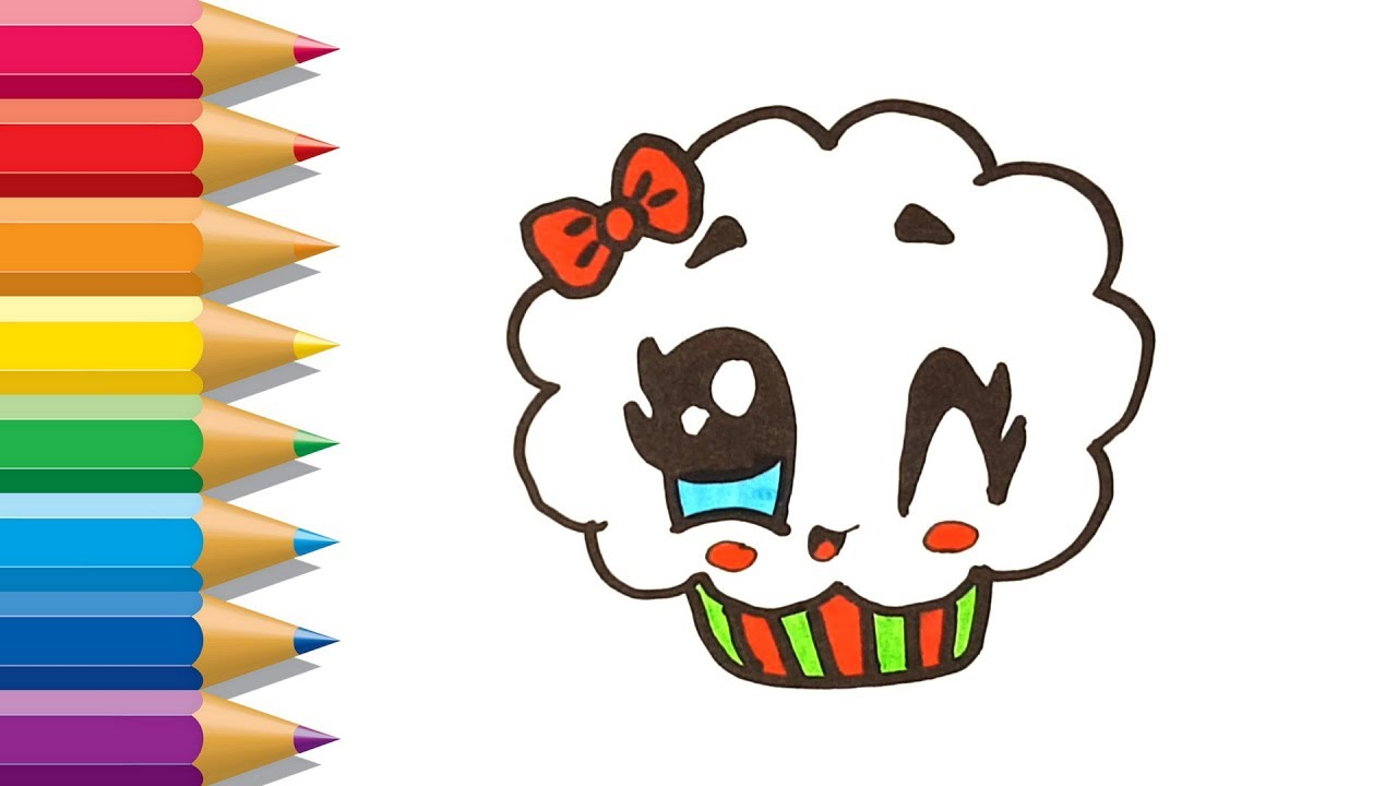 How to Draw CUTE CUPCAKE | Learn Colors for Kids | CupCake Coloring ...