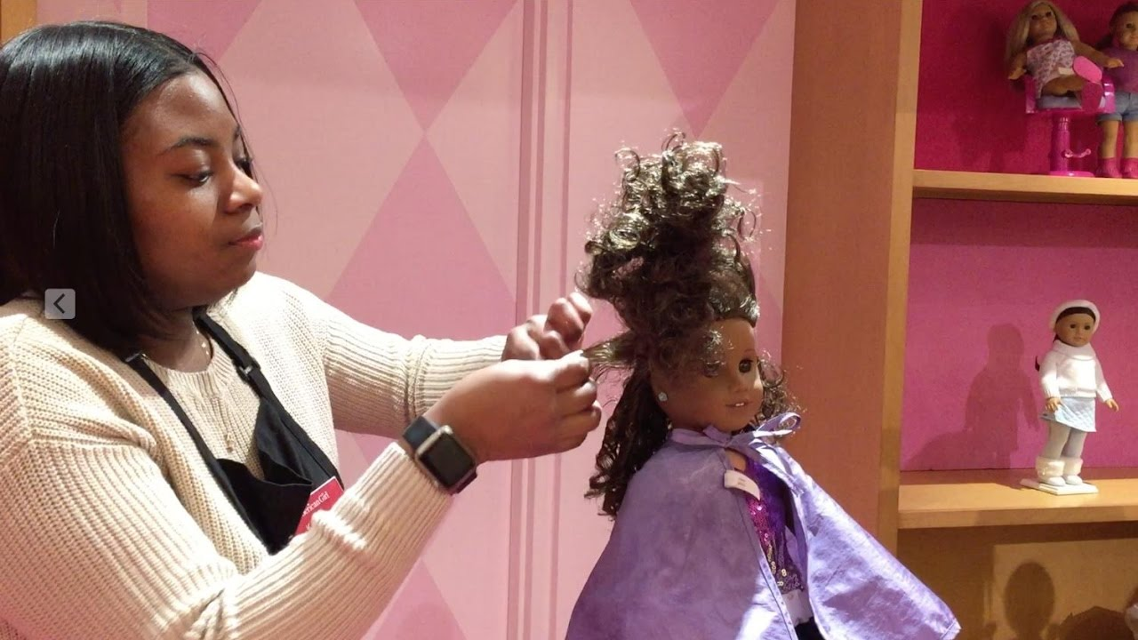 American Girl Doll Gabriela Gets Her Hair Styled at American Girl Place