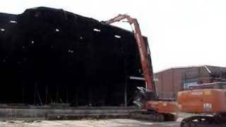 Demolition of Pinewood Studios Fire-Damaged Stage