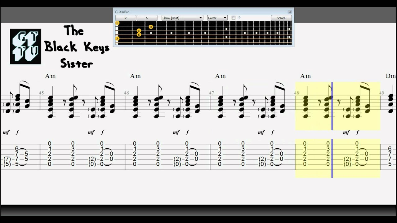 learn how to play sister by the black keys electric rhythm guitar tabs solo youtube. Black Bedroom Furniture Sets. Home Design Ideas