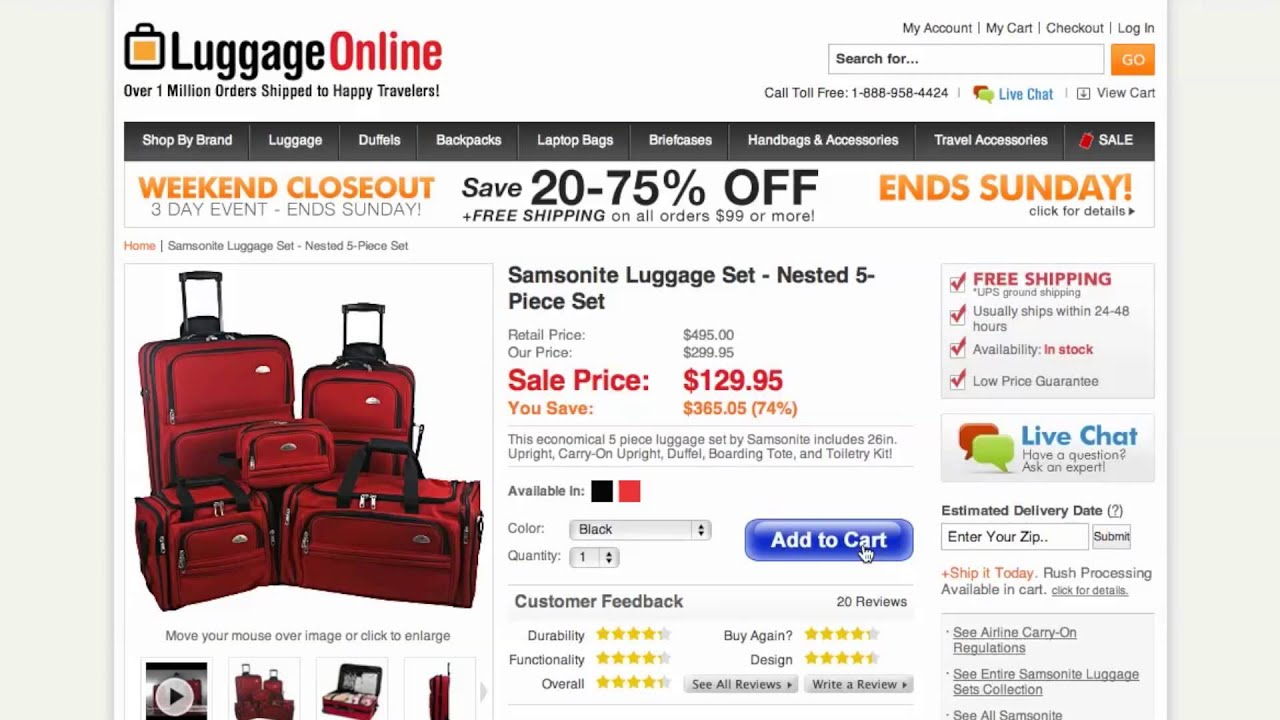 luggage online discount coupon