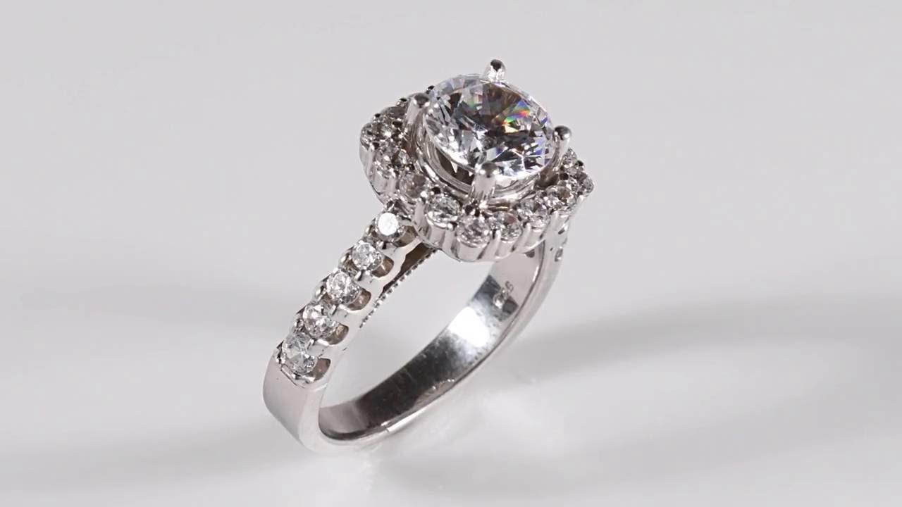 3 Carat Diamond Cushion Halo Engagement Ring 14k White Gold By Pompeii3