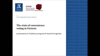 ERRN (VIC) Seminar: The state of convenience voting in Victoria