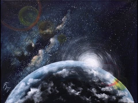Sunrise Over an Alien Planet Step by Step Acrylic Painting on Canvas for Beginners