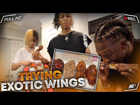 TRYING EXOTIC FLAVORED CHICKEN WINGS FT. AYO & TEO