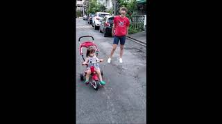 Callie 1st pedaling attempts, with Anna - Sep 08 2018
