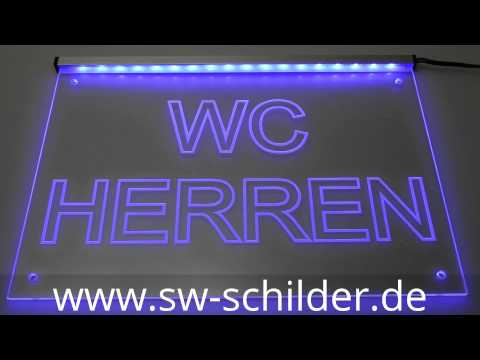 led wc herren hinweisschild graviert mit led beleuchtung. Black Bedroom Furniture Sets. Home Design Ideas