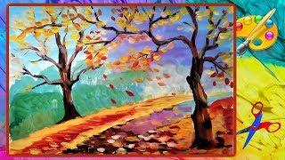 как нарисовать осень для  начинающих   Easy painting for beginners An autumn