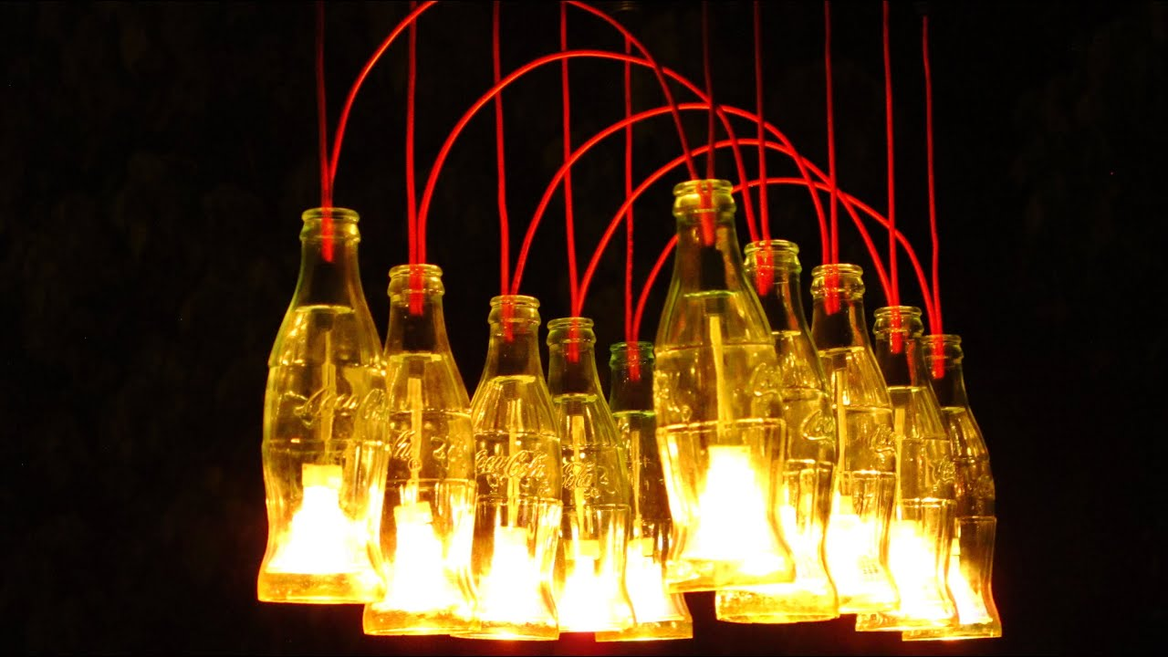 Coke bottle chandelier light catalogue light ideas recycled coca cola bottles made into a chandelier youtube coke arubaitofo Images