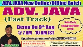 ADV. JAVA (Fast Track) Online Training in DURGASOFT