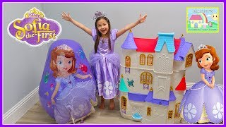 Huge Sofia the First Egg Surprise Toys & Biggest Castle Doll House Ever!